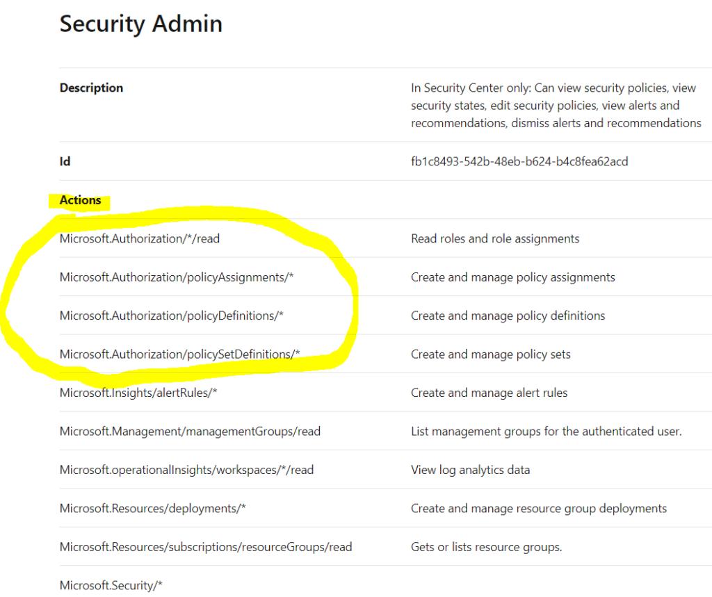 Azure Security Admin role